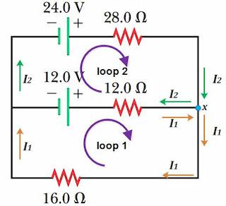 hukum kirchoff 2, soal hukum kirchoff 2, loop rule, hukum kirchhoff 2, soal hukum kirchhoff 2, loop rangkaian, soal 2 loop, soal dua loop, soal 2 loop hukum kirchoff