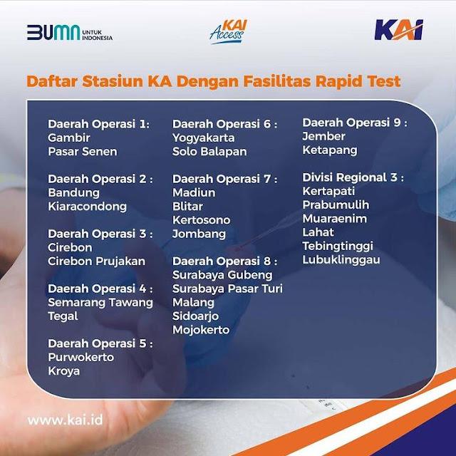 Daftar Stasiun KA dengan fasilitas rapid test di Indonesia