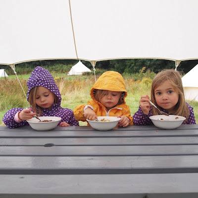 Breakfast outside - all part of the glamping experience