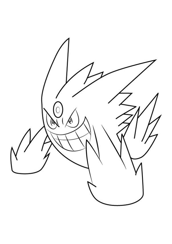 Pokemon Mega Gengar Coloring Pages Free Pokemon Coloring Pages