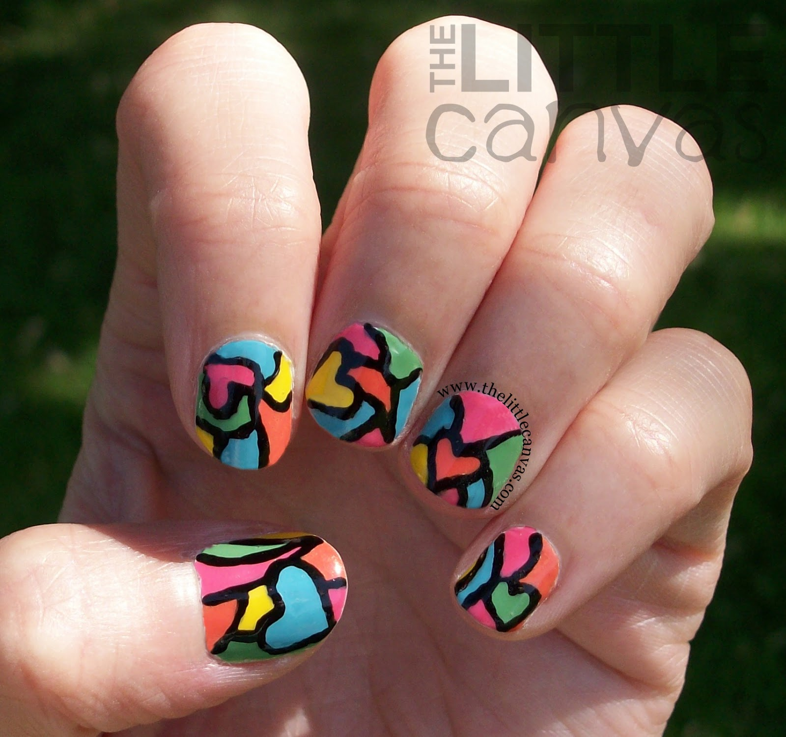 Stained Glass Nail Art: Stained Glass Heart Manicure