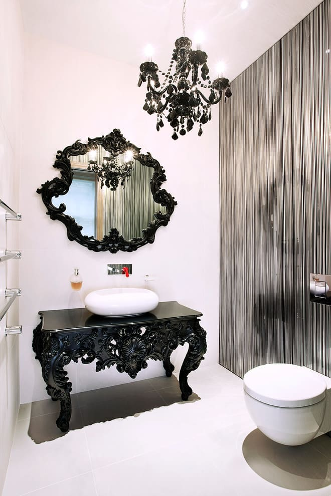 Modern bathroom designs and decorations with classical details