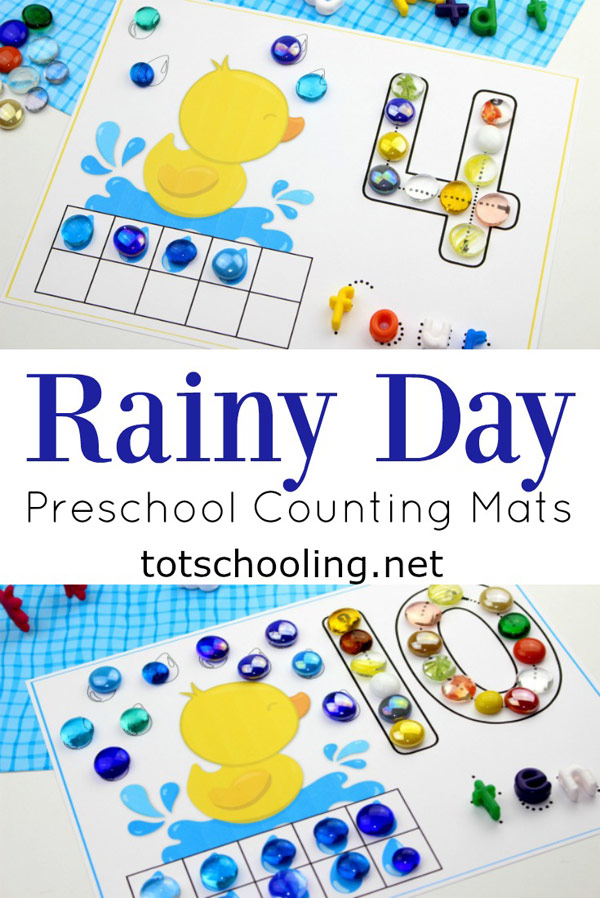 FREE printable counting cards for toddlers and preschoolers with a rainy duck theme, perfect for Spring or rainy weather. Great math activity that also works on fine motor skills.