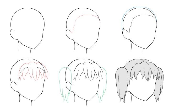 Anime kuncir rambut 3/4 tampilan menggambar langkah demi langkah