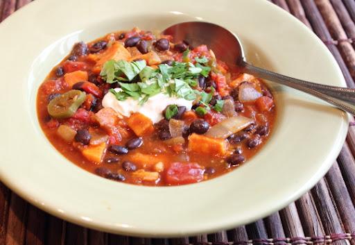 Roasted Sweet Potato & Black Bean Chili
