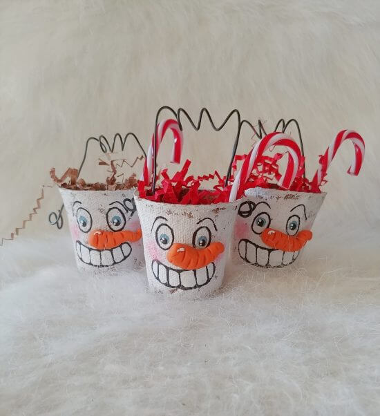 Peat Pot Snowmen Treat Containers