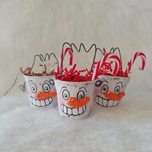 Folk Art Peat Pot Snowmen Treat Containers