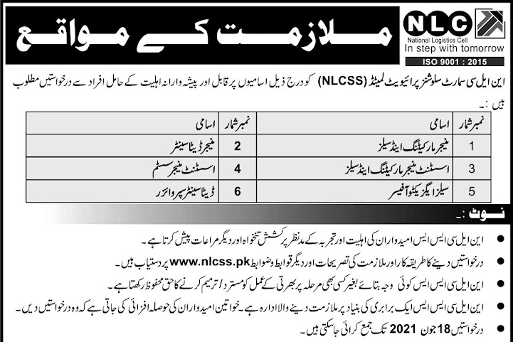 New Jobs in National Logistics Cell NLC June 2021