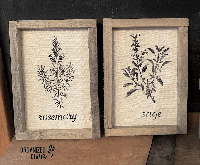 Dollar Tree Reverse Canvas Stenciled Herbs