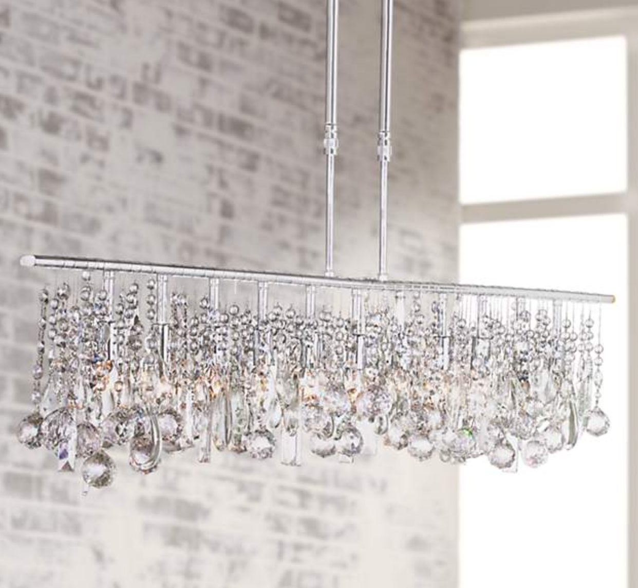 linear crystal chandelier. Design Obsession: Linear Crystal Chandeliers That Look Stunning In A Kitchen Or Dining Room. Chandelier
