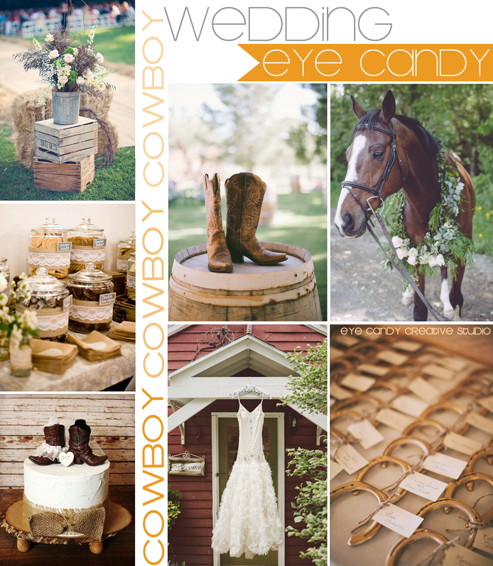 wood crates, cownoy boots, horse, wedding dress, cookie jars, horseshoes