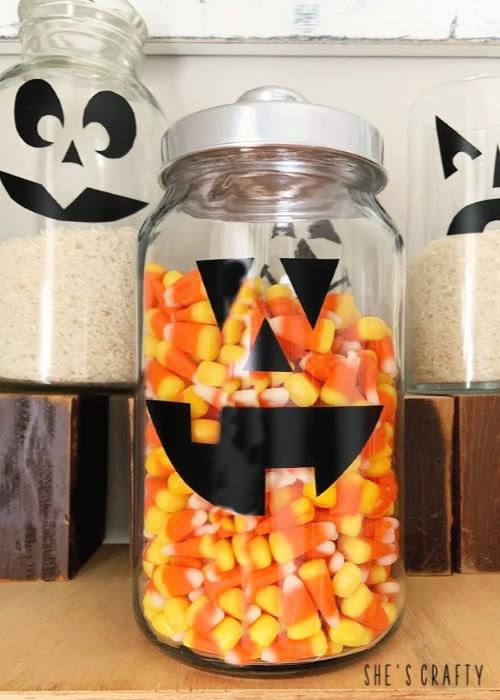 Halloween Pumpkin Face Treat Jars