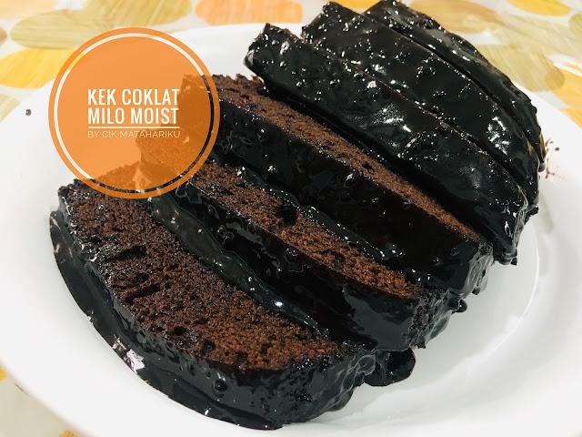kek coklat milo moist resepi Azlina Ina