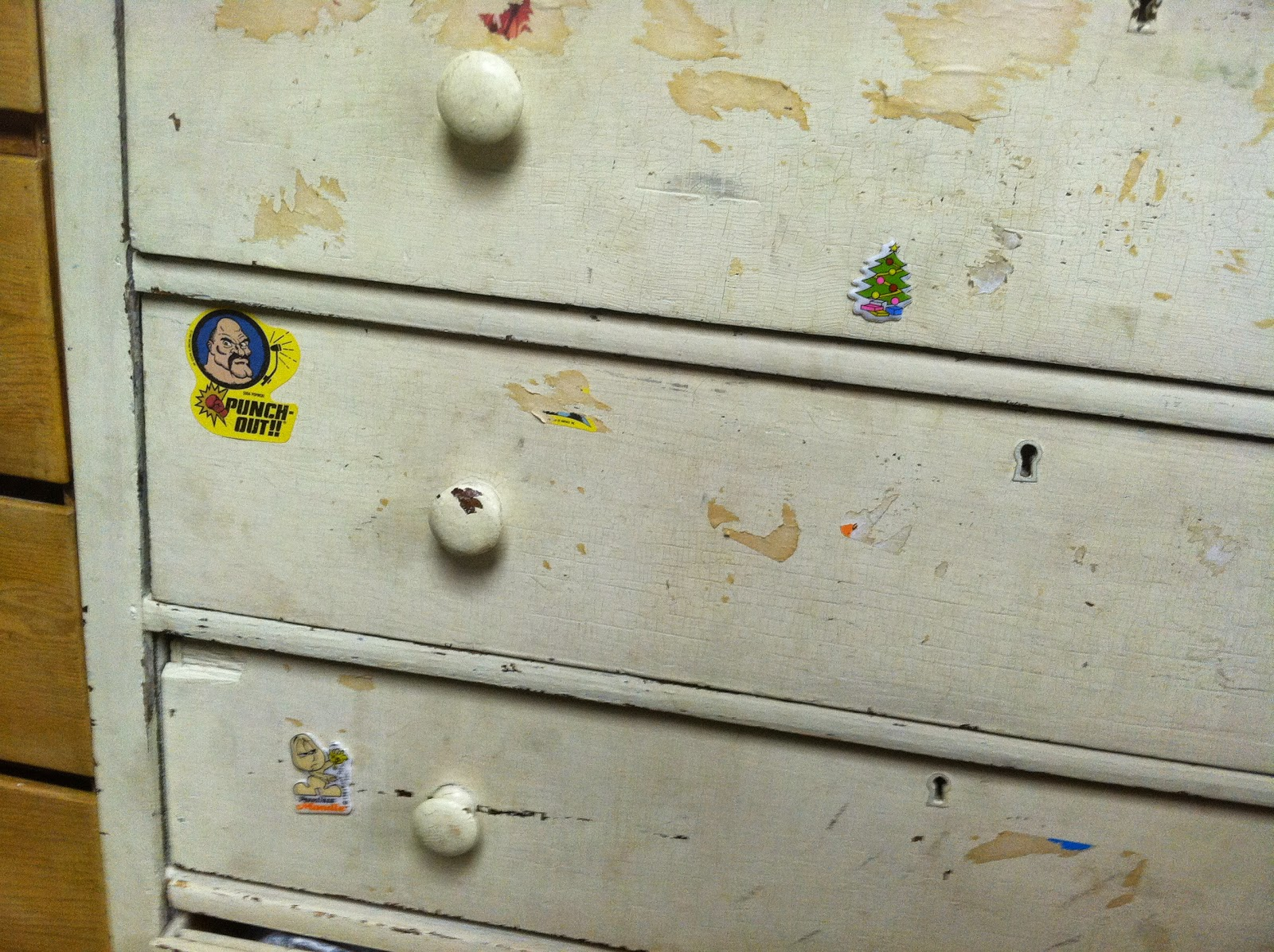 From the Ponder Couch: Clutter: Stickers All Over the Dressers!