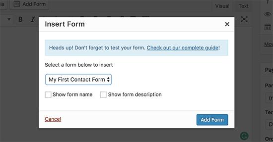 Pilih formulir kontak Anda dan tambahkan