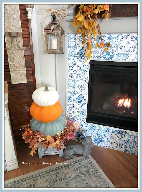 Farmhouse Cottage Fall Fireplace Mantel-Pumpkin Stack-From My Front Porch To Yours