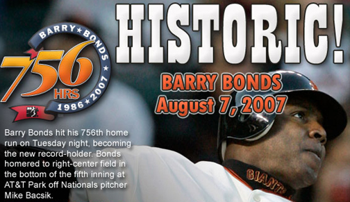 Image result for barry bonds hits 756 home run