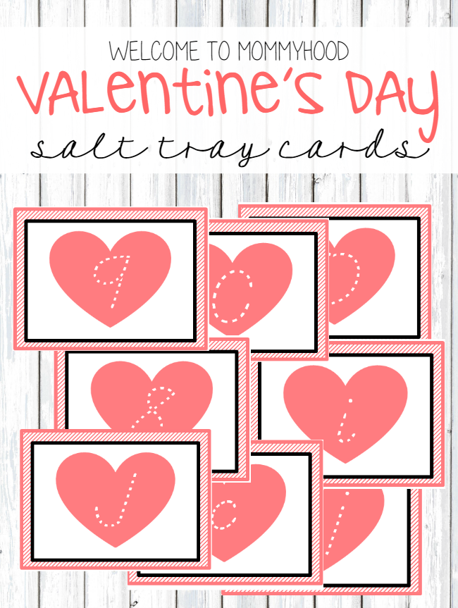 Montessori Inspired Valentine's Day sand tray Cards by Welcome to Mommyhood #freeprintables, #homeschool, #montessori, #montessoriactivities, #writing, #preschoolactivities #kindergartenprintables
