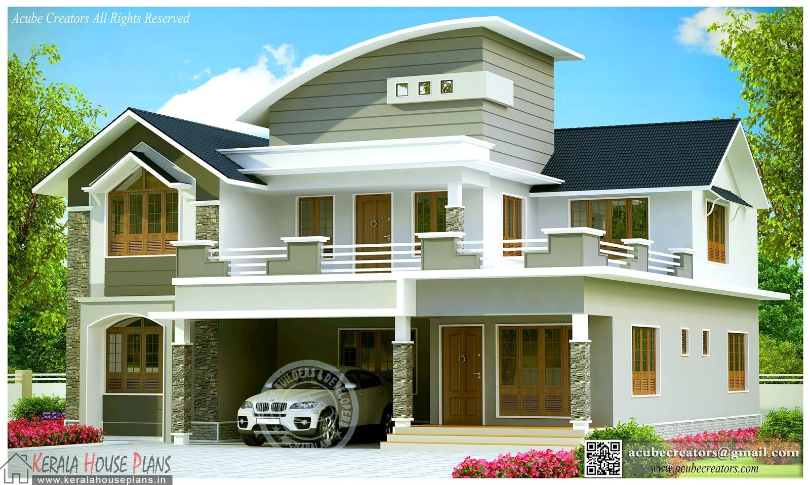 Beautiful contemporary house design kerala kerala house for Kerala home designs contemporary