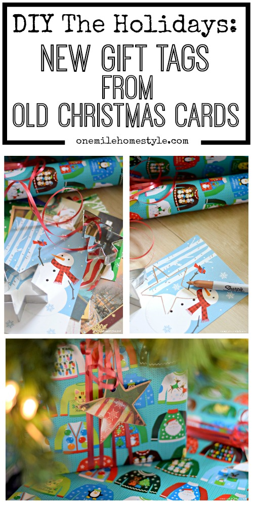 Don't toss those old Christmas cards! Repurpose them into new gift tags for your gifts this holiday season!