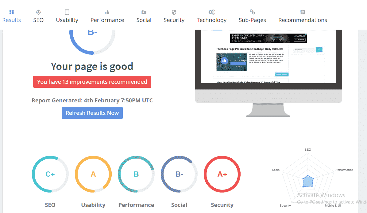 Seoptimer website review and audit tool