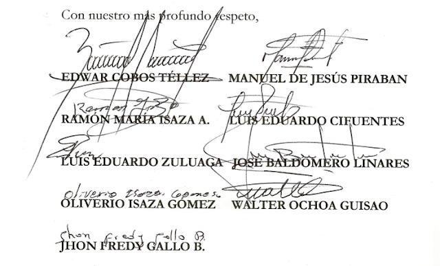 Carta a los miembros de la Comisión de Paz - Cámara de Representantes