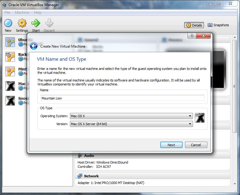 mac os x 10.8 mountain lion virtualbox
