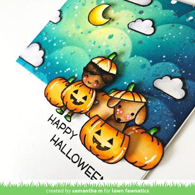 Happy Halloween Card by Samantha Mann, Lawn Fawn, Lawn Fawnatics Challenge, Distress Inks, Ink Blending, Halloween, Pumpkins, Card, Card Making, #lawnfawn #lawnfawnatics #halloween #cards #cardmaking #pumpkin