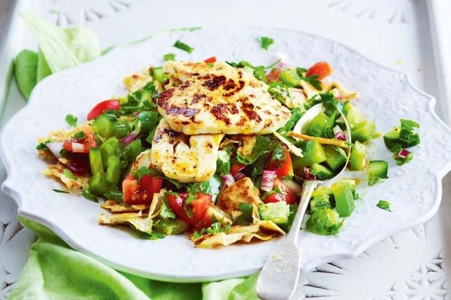Fattoush salad with grilled haloumi