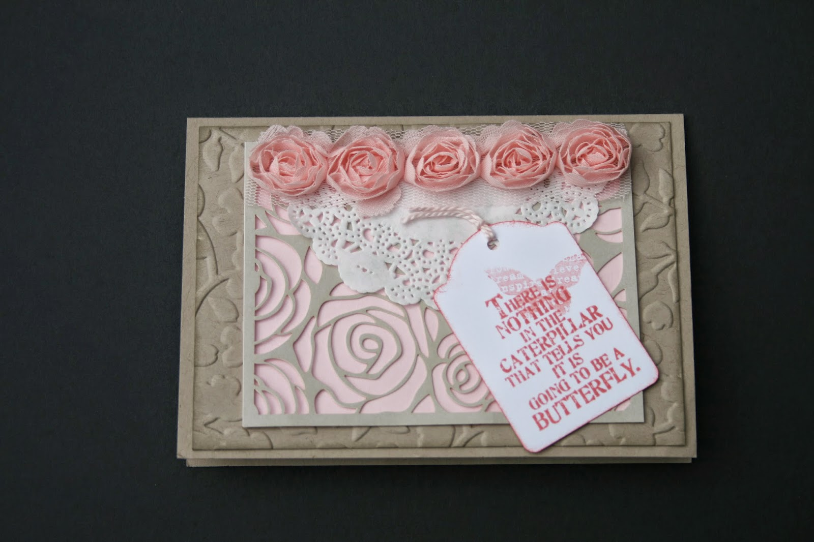 Greeting card using peach roses, rose overlay, and sentiment stamp