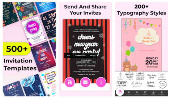 Multiple fonts to choose from for creating a invitation card on your mobile