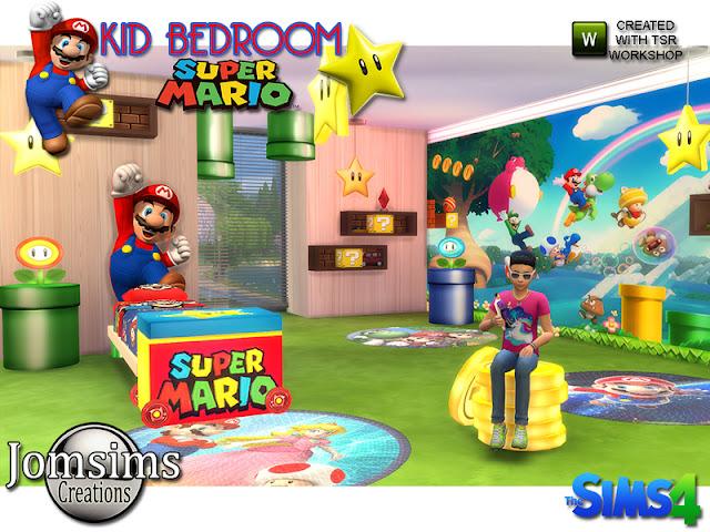 Super mario kids bedroom Супер Марио детская спальня для The Sims 4 1 стол для труб Марио. 1 стол кубик марио. детская односпальная кровать mario с изголовьем кровати mario.1 полка.3 гигантский макси-постер mario.1 стол lmap цветы марио 3 разных стиля. 1 потолочный светильник звезда марио. 1 стол сета тоже деньги марио. 1 x4 разные коврики mario.1ceilingdeco трубы mario. 1 ящик для игрушек Марио. Автор: jomsims