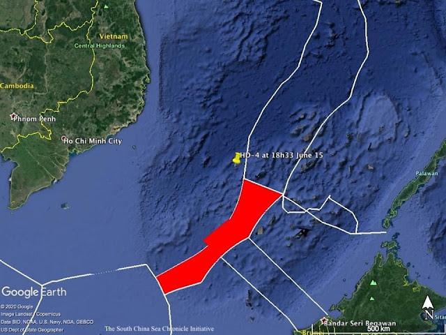 Tàu Hải Dương 4 đã vào bên trong EEZ Việt Nam