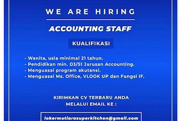 Loker Bandung Accounting Staff Mutiara Kitchen