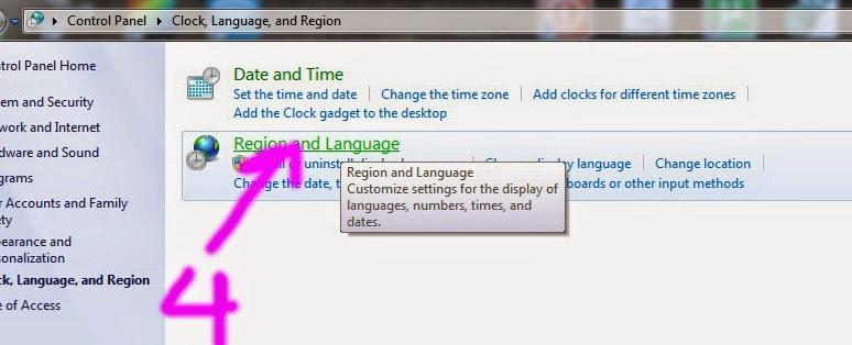 افتح إعدادات اللغة والمنطقة في لوحة تحكم ويندوز ٧