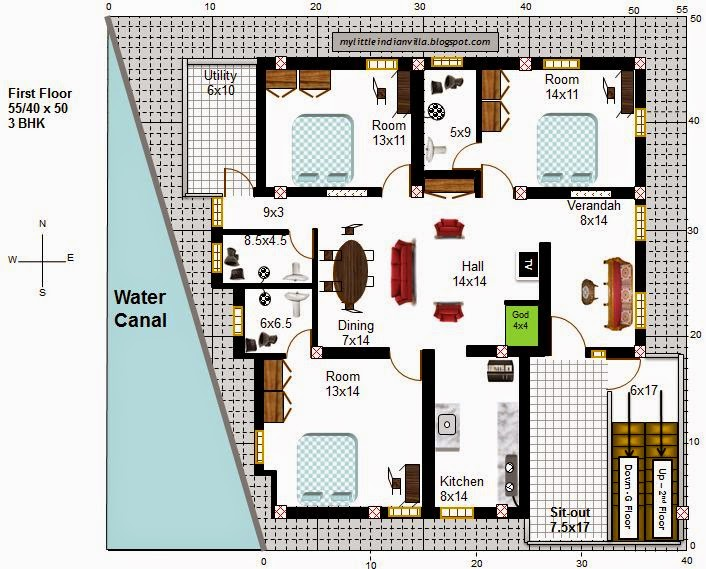 40 60 House Floor Plans: My Little Indian Villa: #55#R48 4 Houses In 55x50 (South