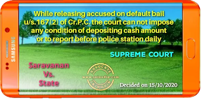 While releasing accused on default bail u/s.167(2) of Cr.P.C. the court can not impose any condition of depositing cash amount or to report before police station daily
