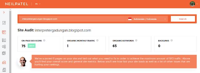 Menganalisis website dengan ubersuggest