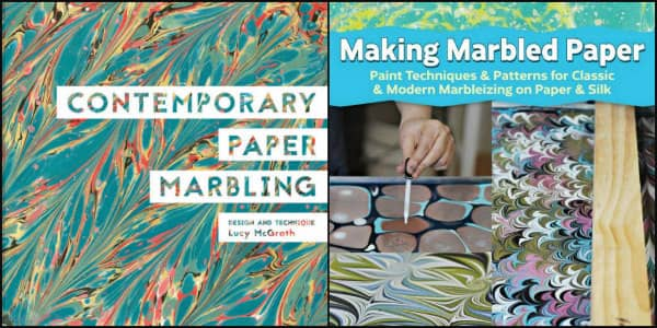 covers of two book about how to do paper marbling