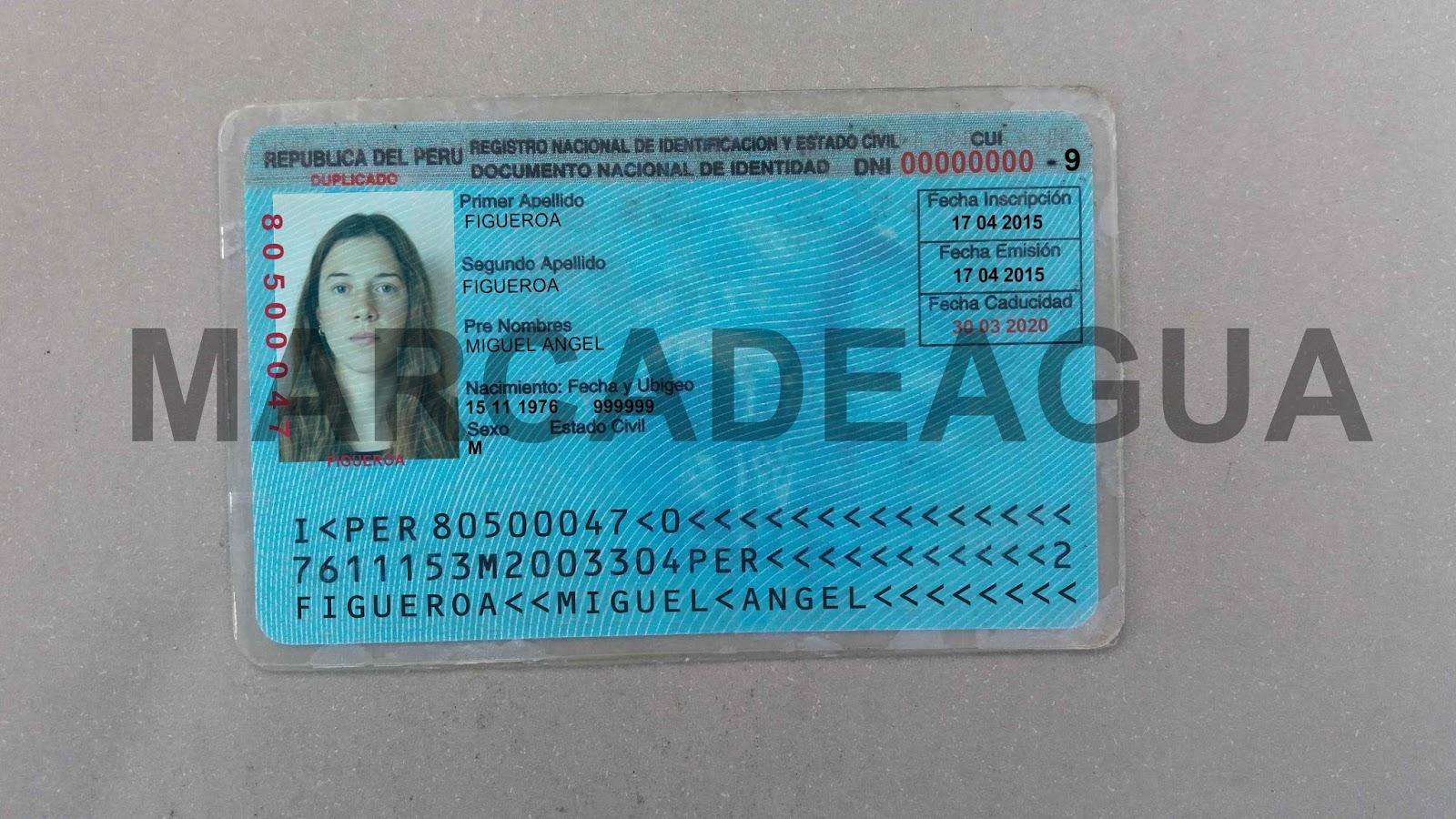 DNI Peruano - Plantilla editable HD - venta de cedulas y documentos