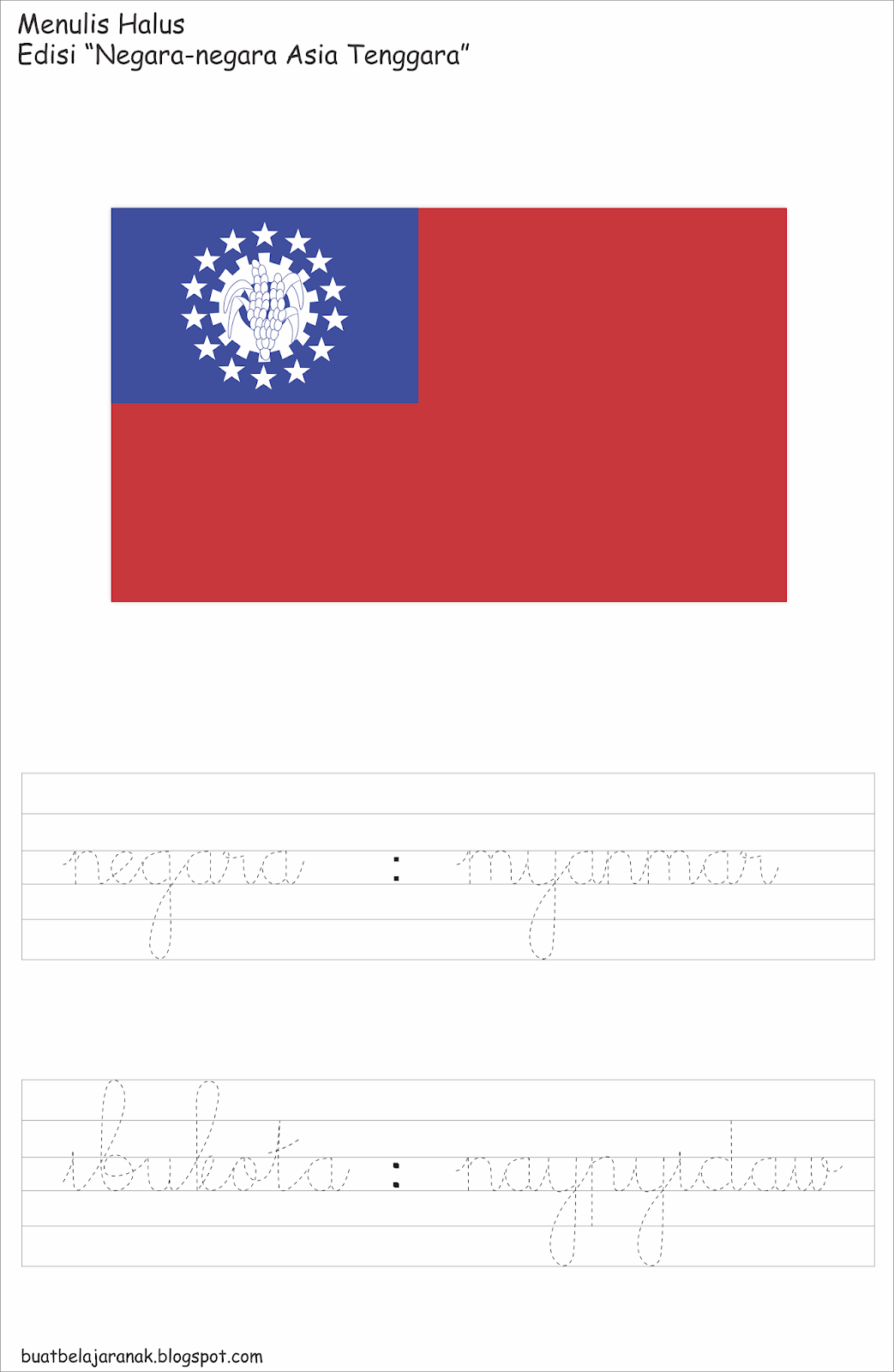 Belajar Menulis Tegak Bersambung Edisi Negara Negara Asia