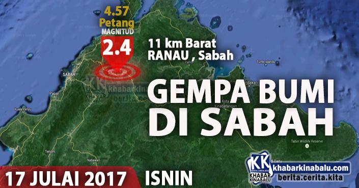 Gempa Bumi Di Ranau | 2.4 Skala Richter - 17072017