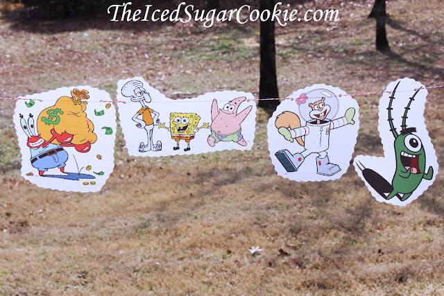 Spongebob Squarepants Birthday Party Flag Bunting Banner Garland DIY Idea
