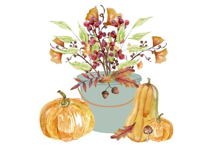 watercolor fall printable a vintage blue bucket filled with Fall leaves