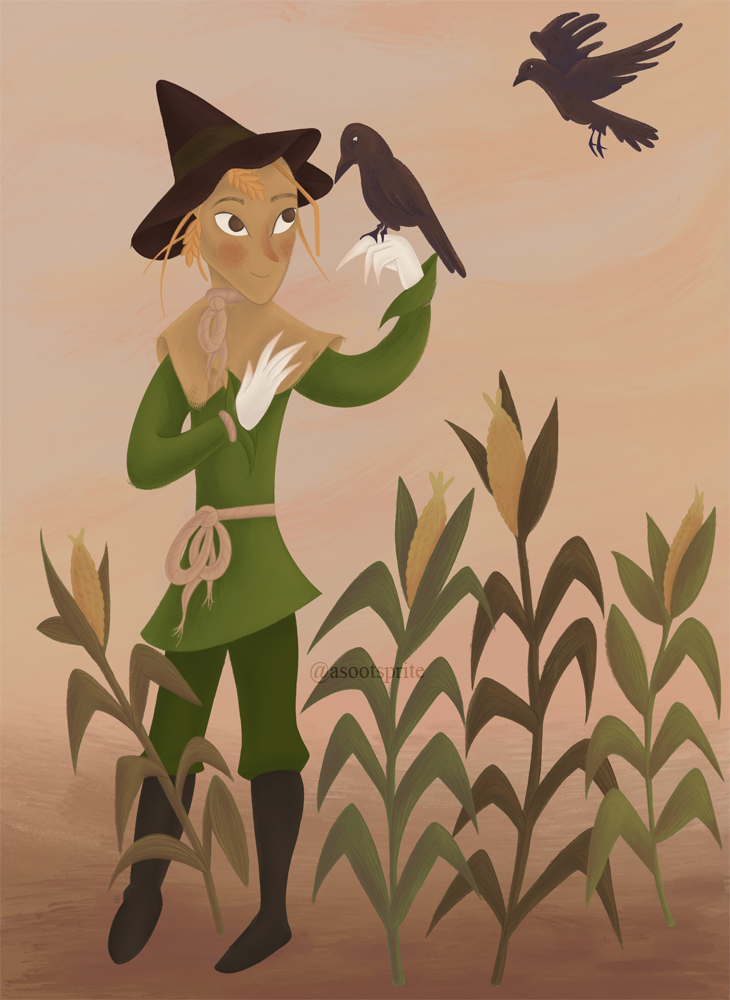 the wizard of oz scarecrow digital illustration