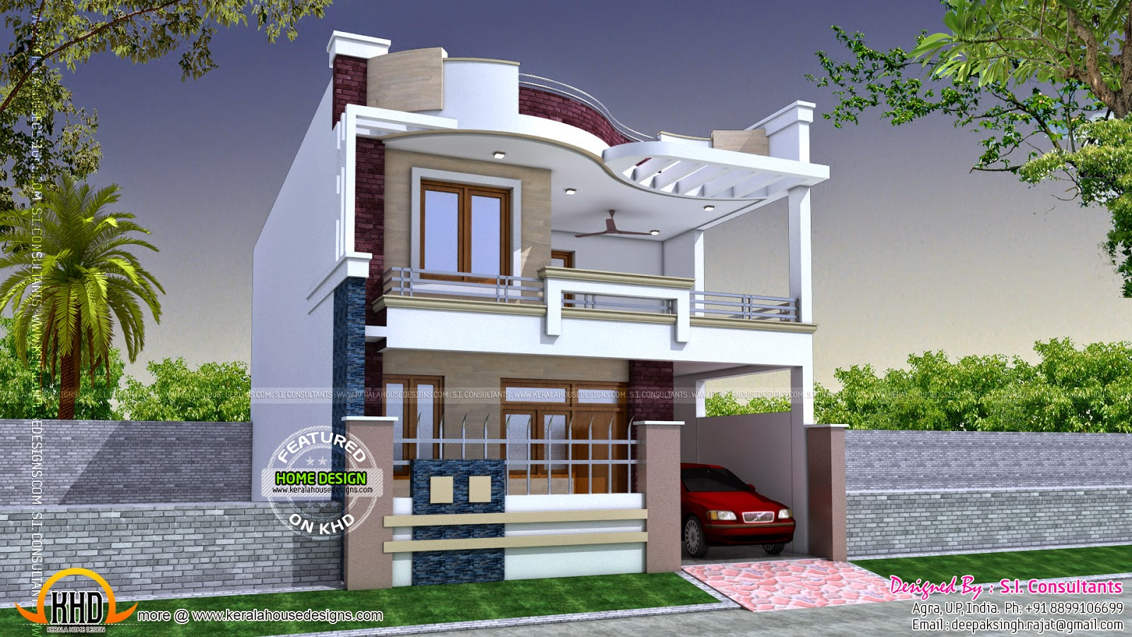 Modern indian home design kerala home design and floor plans for Home front design indian style