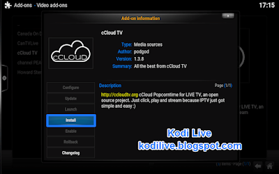 How To Install cCloud TV Addon For Kodi
