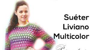 Sueter liviano multicolor para tejer al crochet / Paso a paso