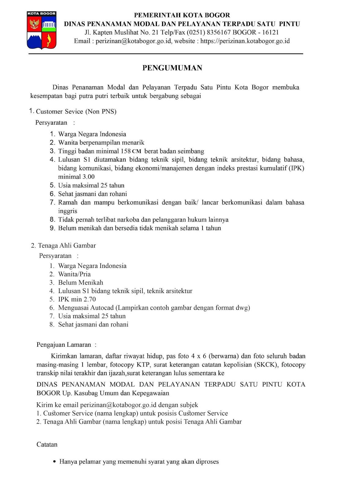 Penerimaan Non PNS Dinas Penanaman Modal dan Pelayanan Terpadu Satu Pintu Kota Bogor Bulan Januari 2020