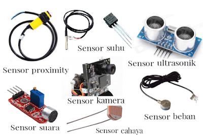 sensor proximity, sensor ultrasonik, sensor kamera, sensor suhu, sensor kelembaban, sensor cahaya, sensor beban, sensor suara dan sensor akselerometer